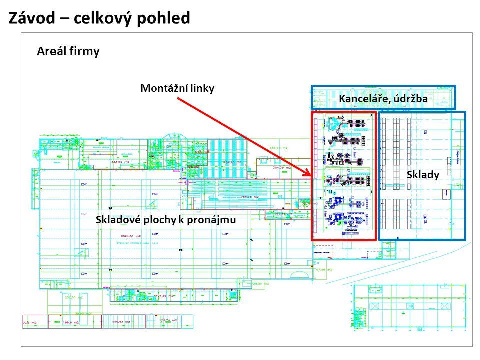Závod – celkový pohled Areál firmy Montážní linky Kanceláře, údržba Sklady Skladové plochy k pronájmu