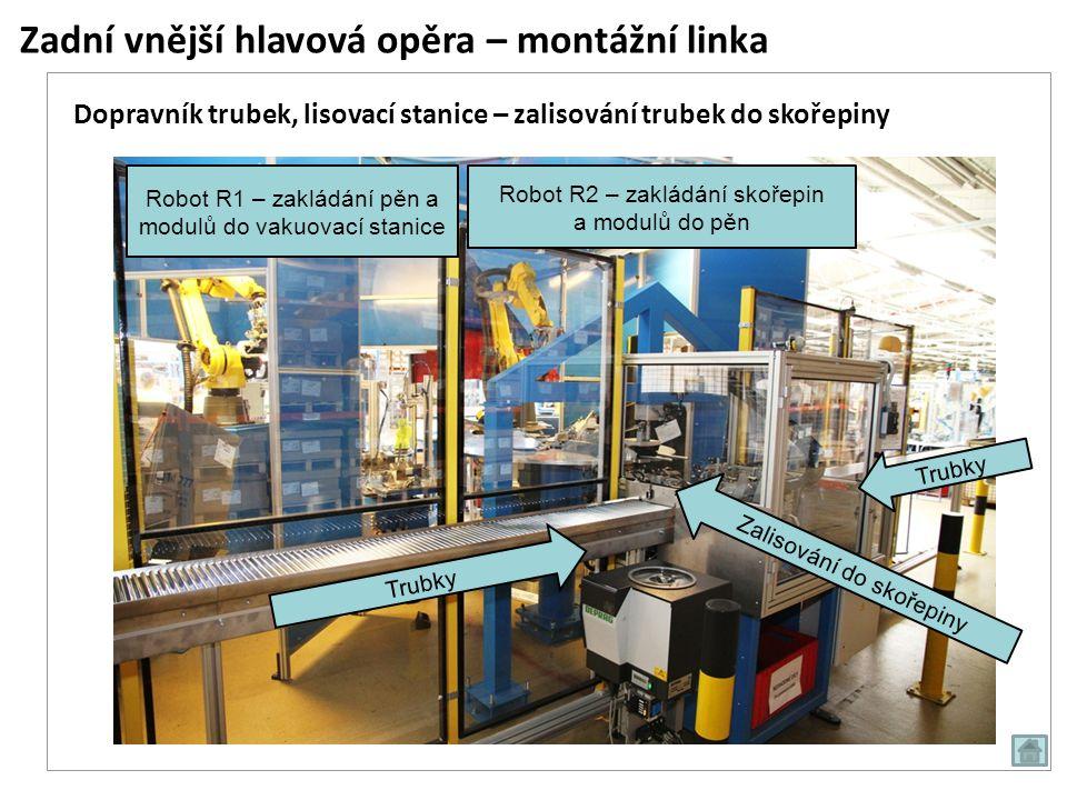 Zadní vnější hlavová opěra – montážní linka Trubky Zalisování do skořepiny Dopravník trubek, lisovací stanice – zalisování trubek do skořepiny Robot R