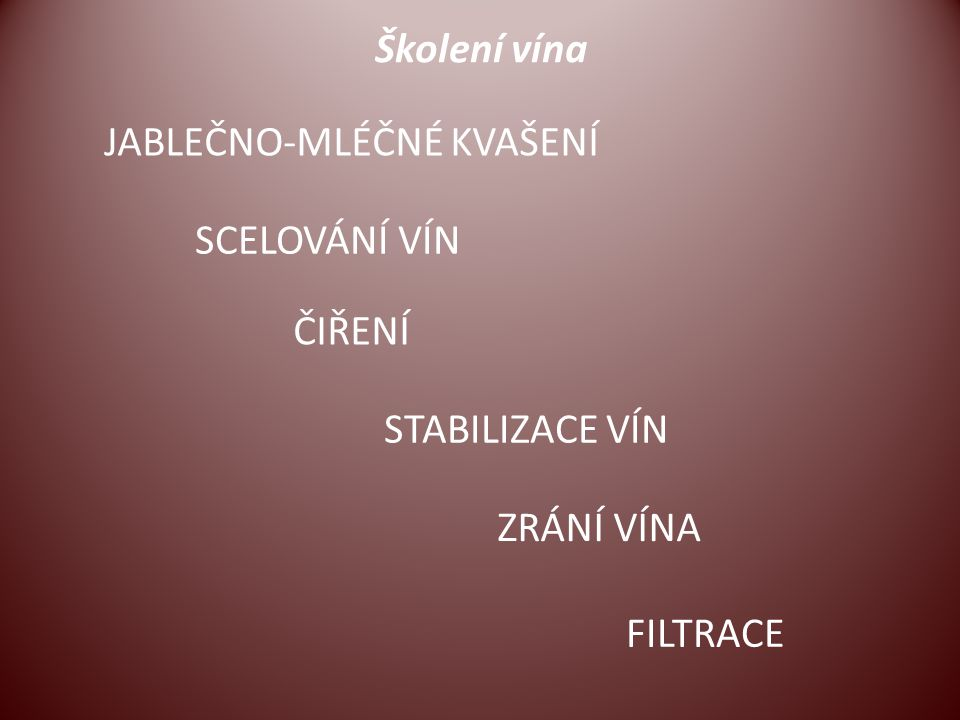 Školení vína JABLEČNO-MLÉČNÉ KVAŠENÍ SCELOVÁNÍ VÍN ČIŘENÍ FILTRACE STABILIZACE VÍN ZRÁNÍ VÍNA