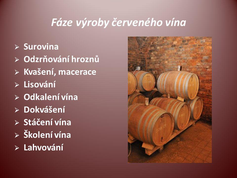 Fáze výroby červeného vína  Surovina  Odzrňování hroznů  Kvašení, macerace  Lisování  Odkalení vína  Dokvášení  Stáčení vína  Školení vína  L