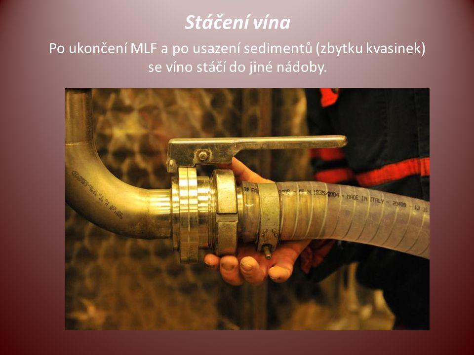 Stáčení vína Po ukončení MLF a po usazení sedimentů (zbytku kvasinek) se víno stáčí do jiné nádoby.