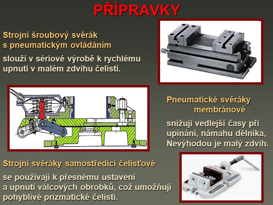 PŘÍPRAVKY Strojní šroubový svěrák s pneumatickým ovládáním slouží v sériové výrobě k rychlému upnutí v malém zdvihu čelistí. Pneumatické svěráky Pneum