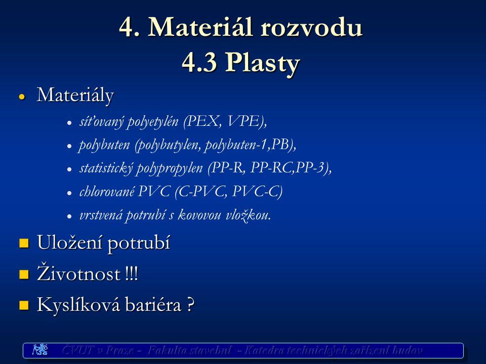4. Materiál rozvodu 4.3 Plasty  Materiály   síťovaný polyetylén (PEX, VPE),   polybuten (polybutylen, polybuten-1,PB),   statistický polypropyl