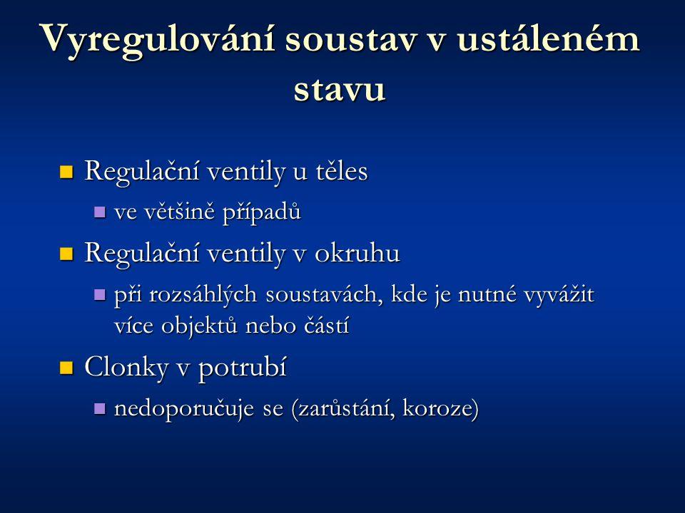 Vyregulování soustav v ustáleném stavu Regulační ventily u těles Regulační ventily u těles ve většině případů ve většině případů Regulační ventily v o