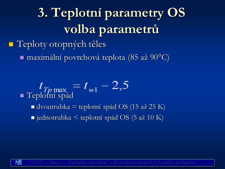 3. Teplotní parametry OS volba parametrů Teploty otopných těles Teploty otopných těles maximální povrchová teplota (85 až 90°C) maximální povrchová te