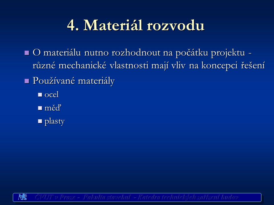 4. Materiál rozvodu O materiálu nutno rozhodnout na počátku projektu - různé mechanické vlastnosti mají vliv na koncepci řešení O materiálu nutno rozh
