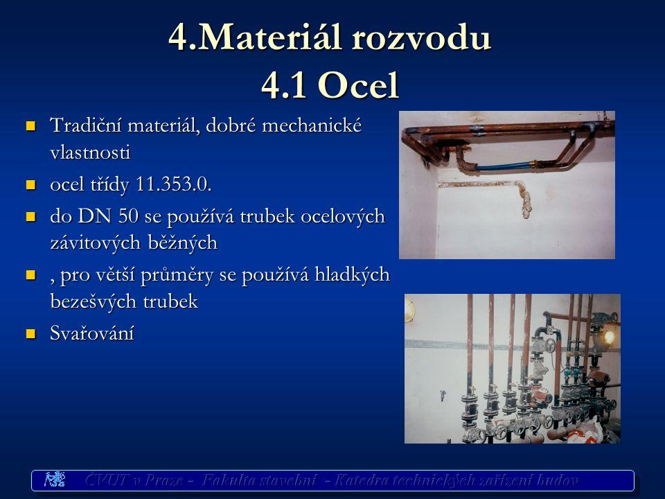 4.Materiál rozvodu 4.1 Ocel Tradiční materiál, dobré mechanické vlastnosti Tradiční materiál, dobré mechanické vlastnosti ocel třídy 11.353.0. ocel tř