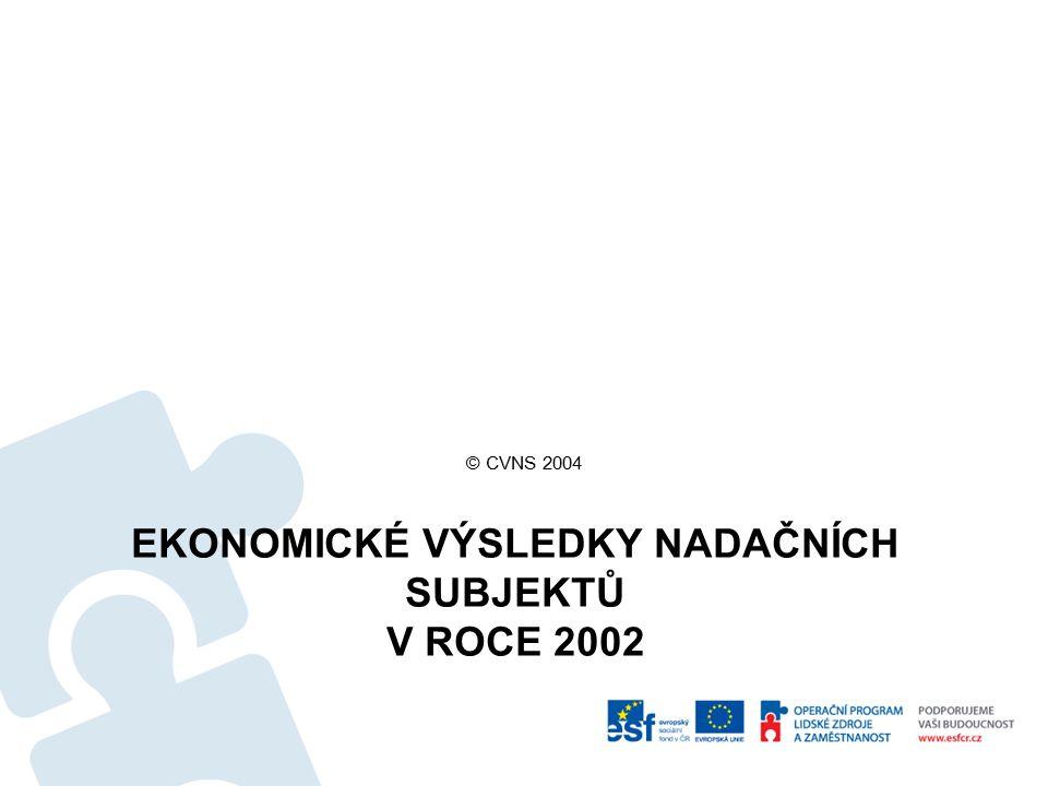 EKONOMICKÉ VÝSLEDKY NADAČNÍCH SUBJEKTŮ V ROCE 2002 © CVNS 2004
