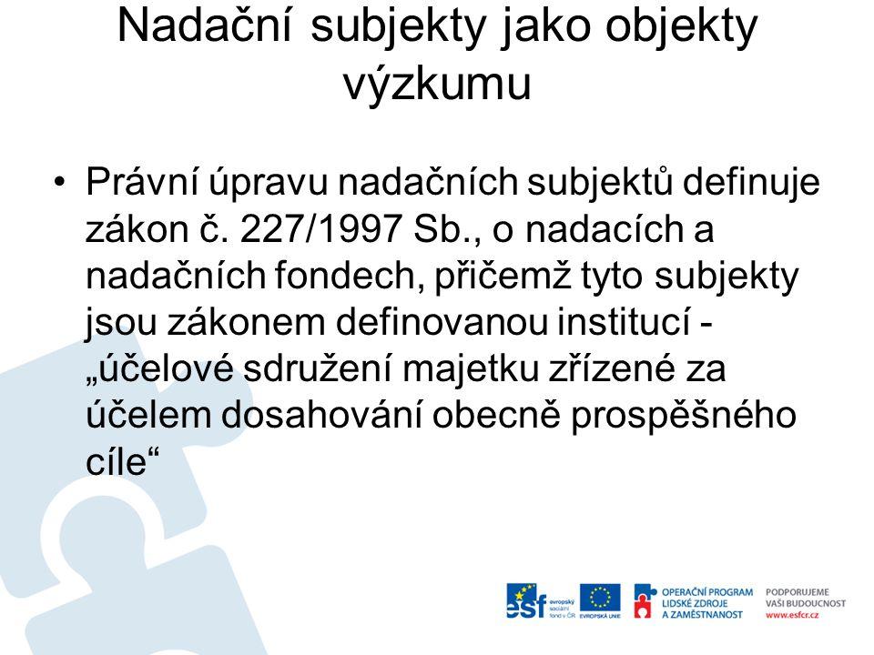 Nadační subjekty jako objekty výzkumu Právní úpravu nadačních subjektů definuje zákon č.
