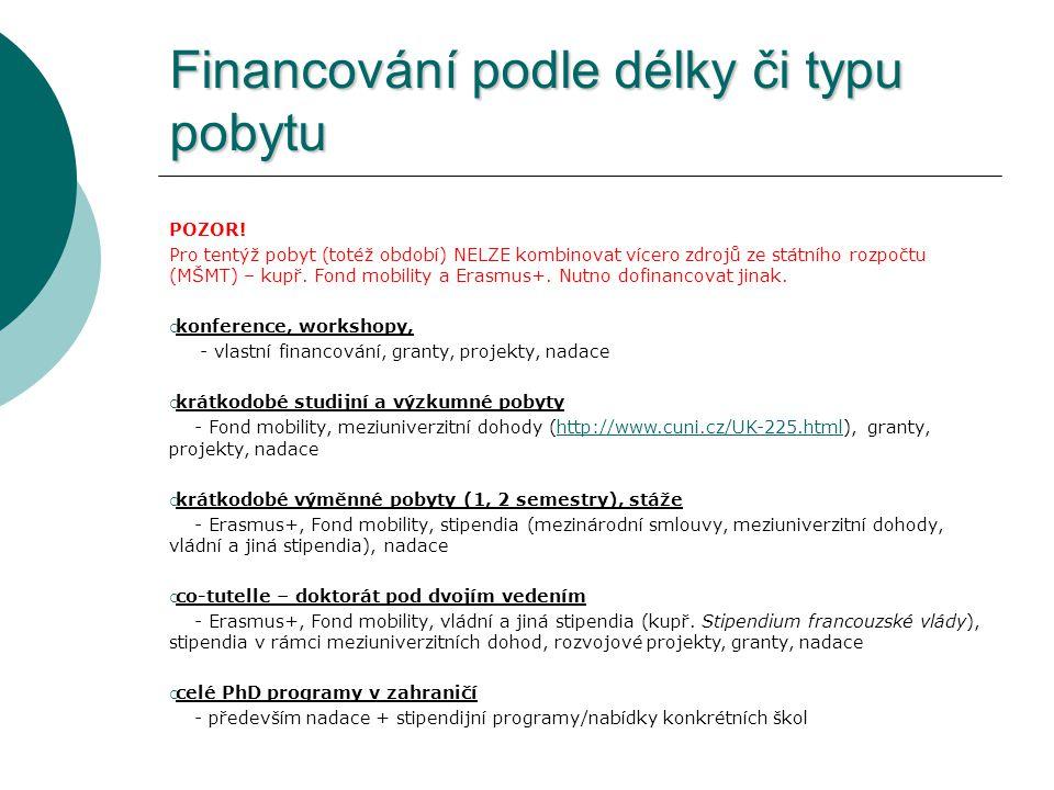 Financování podle délky či typu pobytu POZOR! Pro tentýž pobyt (totéž období) NELZE kombinovat vícero zdrojů ze státního rozpočtu (MŠMT) – kupř. Fond