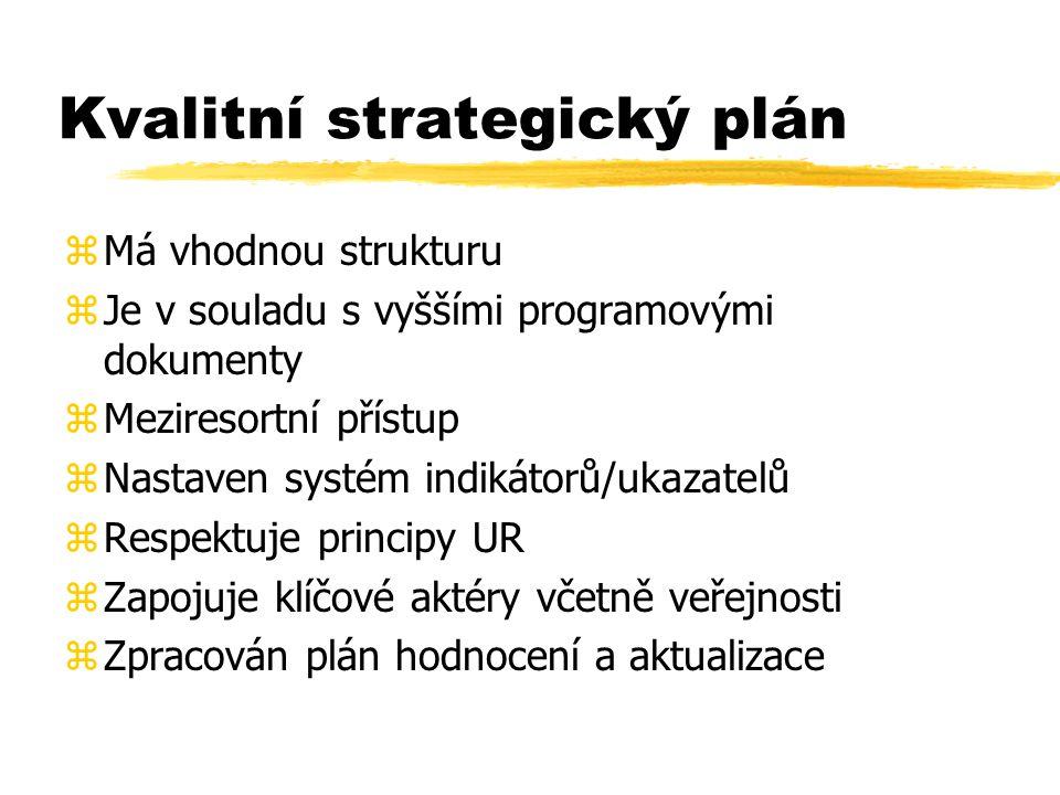 Kvalitní strategický plán zMá vhodnou strukturu zJe v souladu s vyššími programovými dokumenty zMeziresortní přístup zNastaven systém indikátorů/ukazatelů zRespektuje principy UR zZapojuje klíčové aktéry včetně veřejnosti zZpracován plán hodnocení a aktualizace