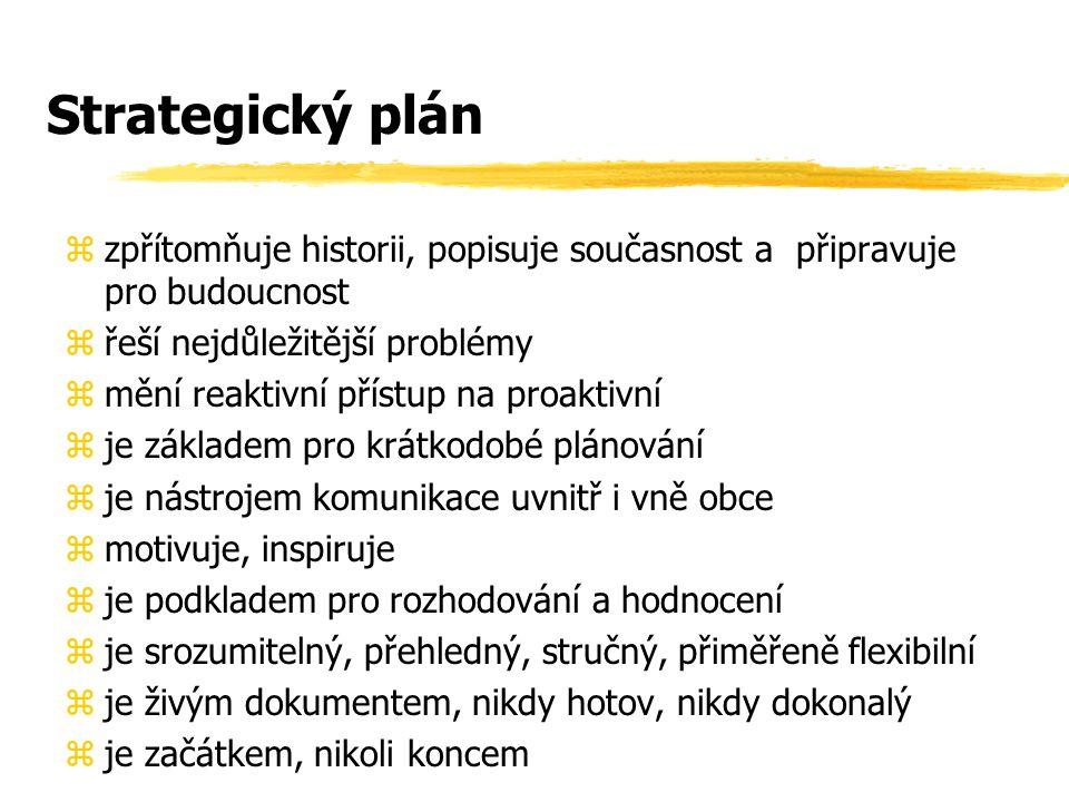 Strategický plán zzpřítomňuje historii, popisuje současnost a připravuje pro budoucnost zřeší nejdůležitější problémy změní reaktivní přístup na proaktivní zje základem pro krátkodobé plánování zje nástrojem komunikace uvnitř i vně obce zmotivuje, inspiruje zje podkladem pro rozhodování a hodnocení zje srozumitelný, přehledný, stručný, přiměřeně flexibilní zje živým dokumentem, nikdy hotov, nikdy dokonalý zje začátkem, nikoli koncem