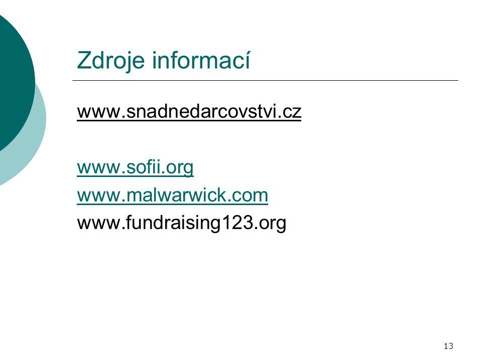 13 Zdroje informací www.snadnedarcovstvi.cz www.sofii.org www.malwarwick.com www.fundraising123.org