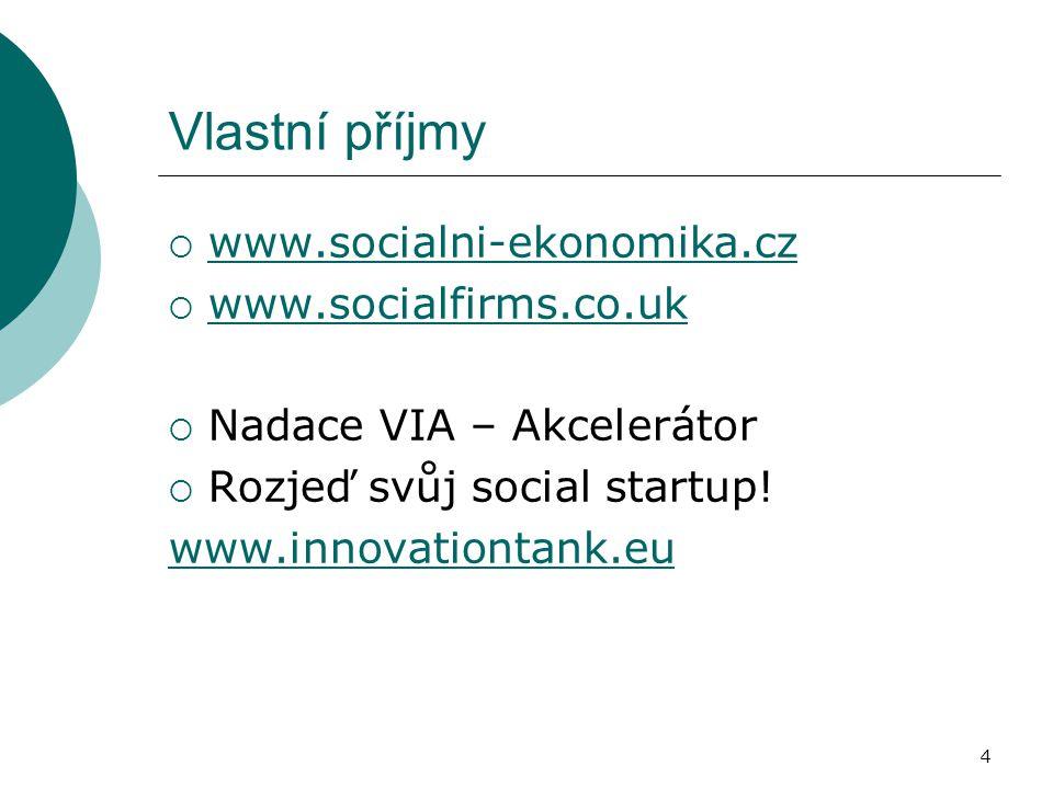 Vlastní příjmy  www.socialni-ekonomika.cz www.socialni-ekonomika.cz  www.socialfirms.co.uk www.socialfirms.co.uk  Nadace VIA – Akcelerátor  Rozjeď svůj social startup.
