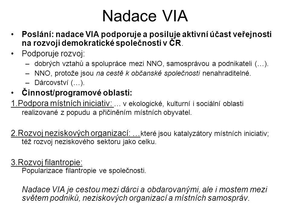 Nadace VIA Poslání: nadace VIA podporuje a posiluje aktivní účast veřejnosti na rozvoji demokratické společnosti v ČR. Podporuje rozvoj: –dobrých vzta