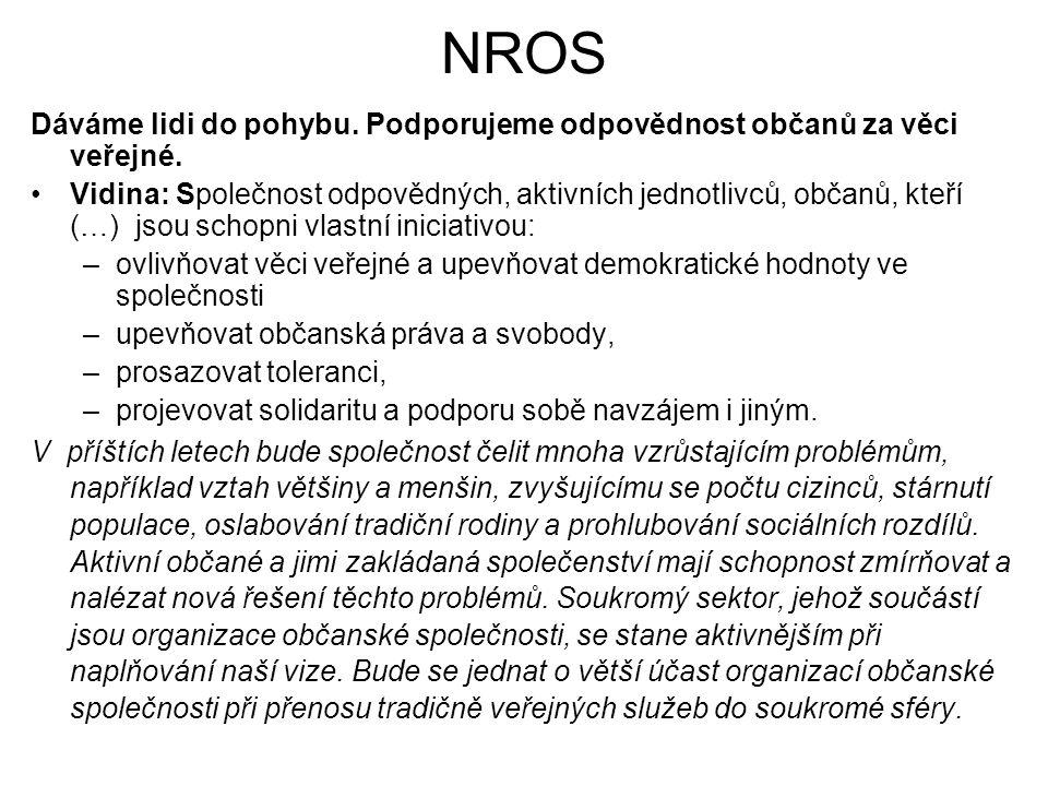 NROS Dáváme lidi do pohybu. Podporujeme odpovědnost občanů za věci veřejné. Vidina: Společnost odpovědných, aktivních jednotlivců, občanů, kteří (…) j