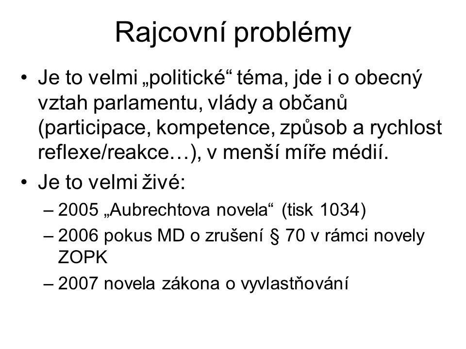 """Rajcovní problémy Je to velmi """"politické"""" téma, jde i o obecný vztah parlamentu, vlády a občanů (participace, kompetence, způsob a rychlost reflexe/re"""