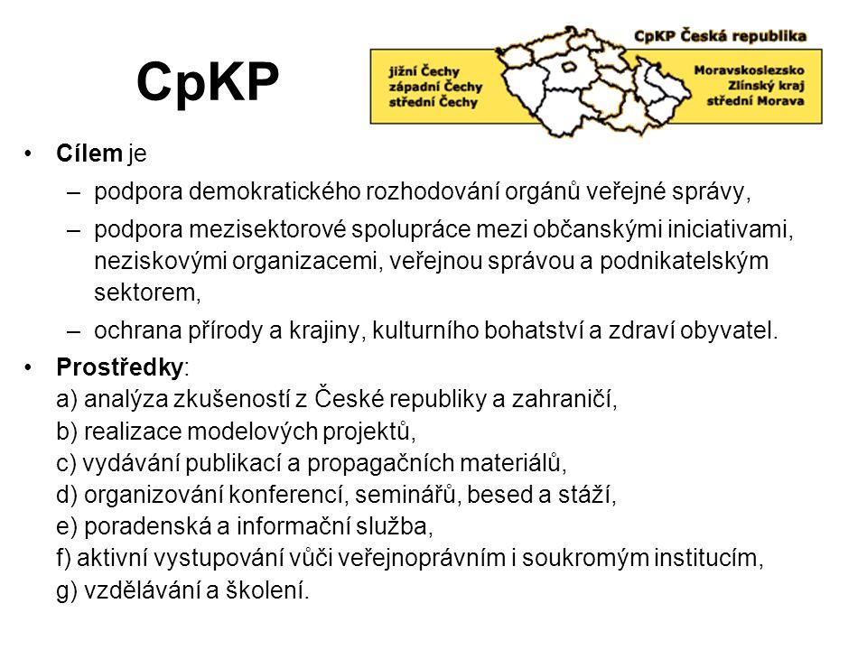 CpKP Cílem je –podpora demokratického rozhodování orgánů veřejné správy, –podpora mezisektorové spolupráce mezi občanskými iniciativami, neziskovými o