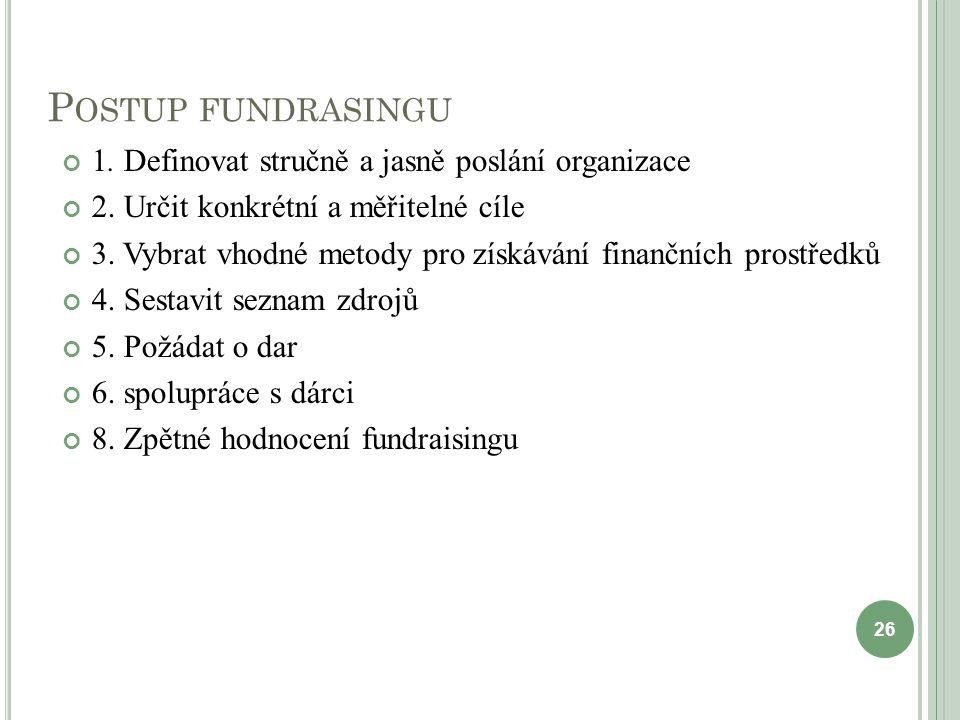 P OSTUP FUNDRASINGU 1. Definovat stručně a jasně poslání organizace 2. Určit konkrétní a měřitelné cíle 3. Vybrat vhodné metody pro získávání finanční