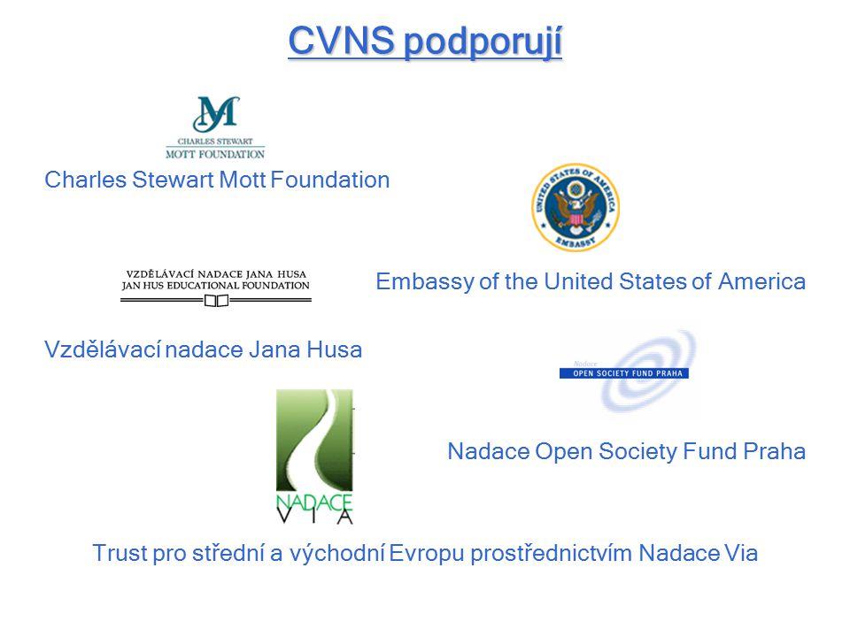 CVNS podporují Charles Stewart Mott Foundation Embassy of the United States of America Vzdělávací nadace Jana Husa Nadace Open Society Fund Praha Trust pro střední a východní Evropu prostřednictvím Nadace Via