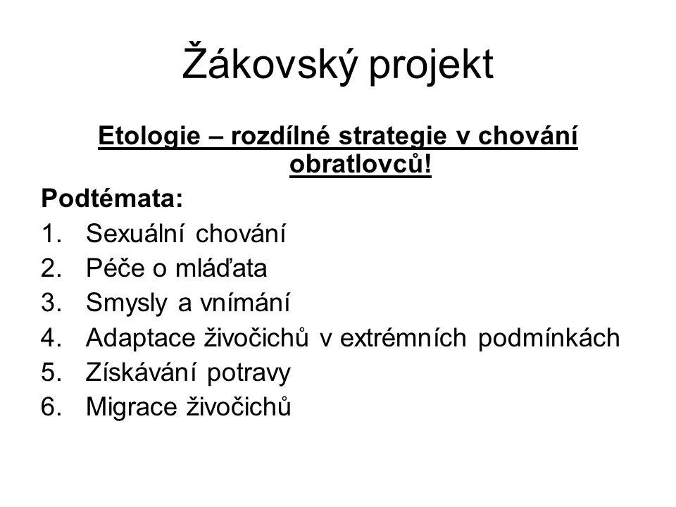 Žákovský projekt Etologie – rozdílné strategie v chování obratlovců.