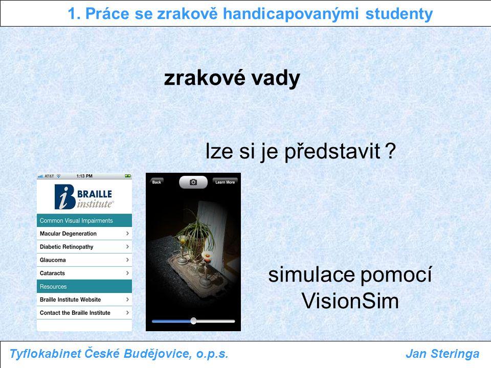 1. Práce se zrakově handicapovanými studenty Tyflokabinet České Budějovice, o.p.s.Jan Steringa zrakové vady simulace pomocí VisionSim lze si je předst