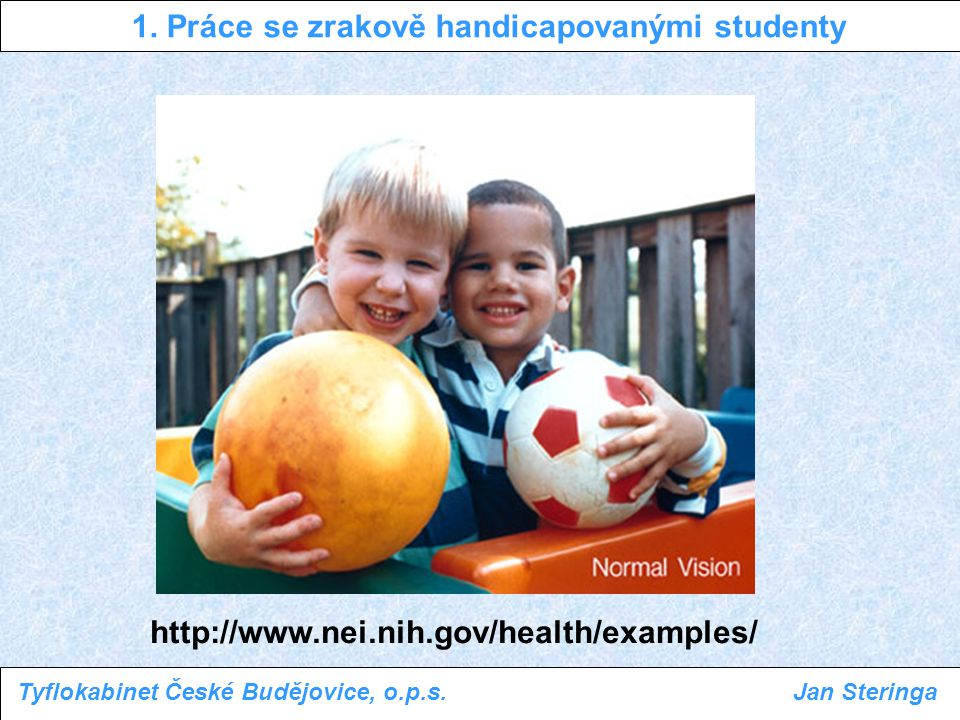 1. Práce se zrakově handicapovanými studenty Tyflokabinet České Budějovice, o.p.s.Jan Steringa http://www.nei.nih.gov/health/examples/