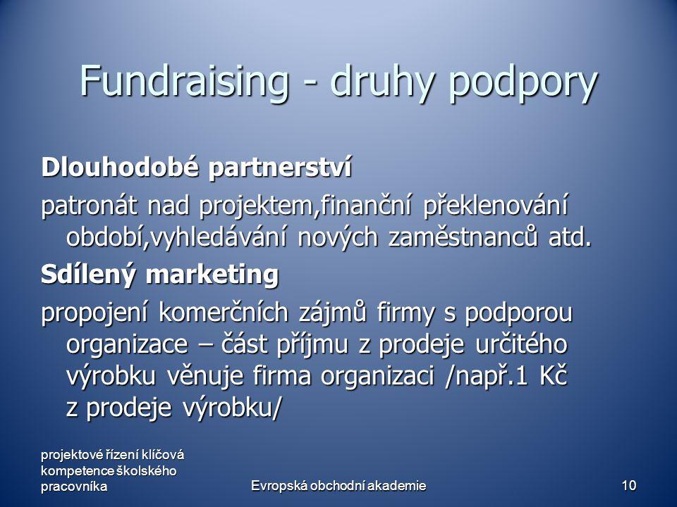 Evropská obchodní akademie10 Fundraising - druhy podpory Dlouhodobé partnerství patronát nad projektem,finanční překlenování období,vyhledávání nových zaměstnanců atd.