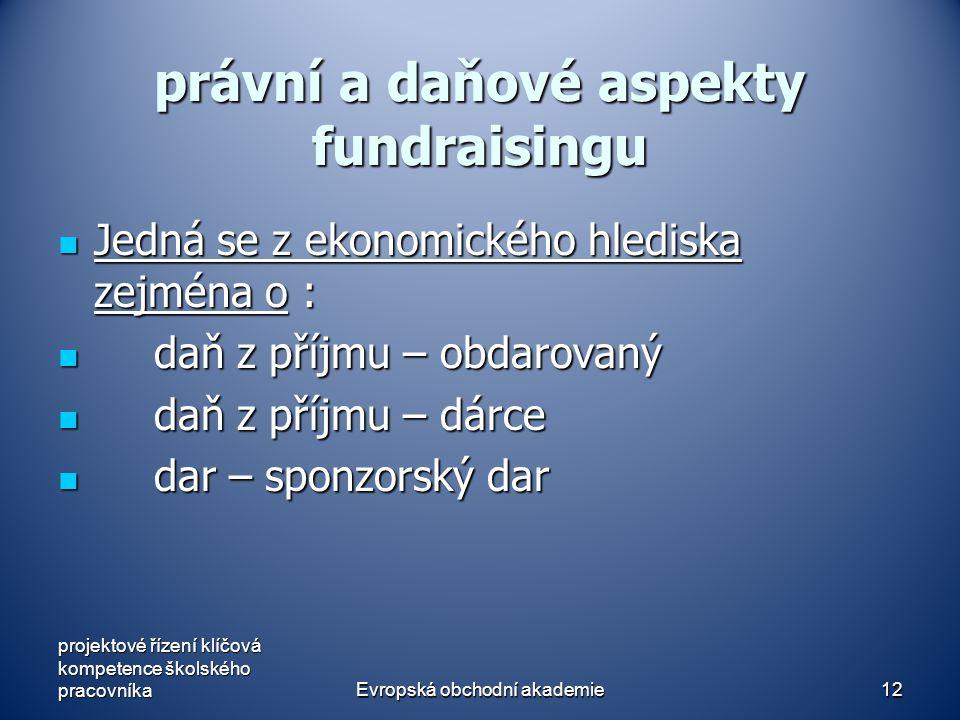 Evropská obchodní akademie12 právní a daňové aspekty fundraisingu Jedná se z ekonomického hlediska zejména o : Jedná se z ekonomického hlediska zejména o : daň z příjmu – obdarovaný daň z příjmu – obdarovaný daň z příjmu – dárce daň z příjmu – dárce dar – sponzorský dar dar – sponzorský dar projektové řízení klíčová kompetence školského pracovníka
