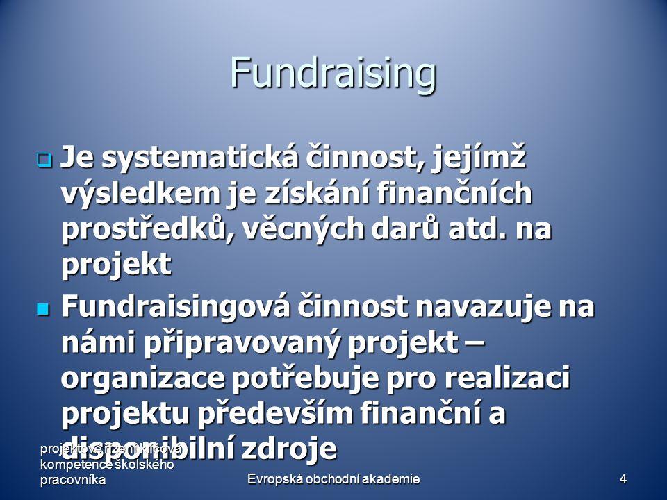 Evropská obchodní akademie5 Fundraising - zdroje Zdroje - institucionální dárci  Stát  EU  Nadace  Podniky - individuální dárci - individuální dárci projektové řízení klíčová kompetence školského pracovníka