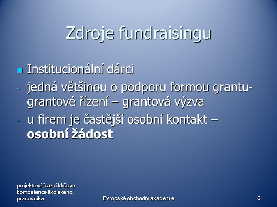 Evropská obchodní akademie6 Zdroje fundraisingu Institucionální dárci Institucionální dárci - jedná většinou o podporu formou grantu- grantové řízení – grantová výzva - u firem je častější osobní kontakt – osobní žádost projektové řízení klíčová kompetence školského pracovníka