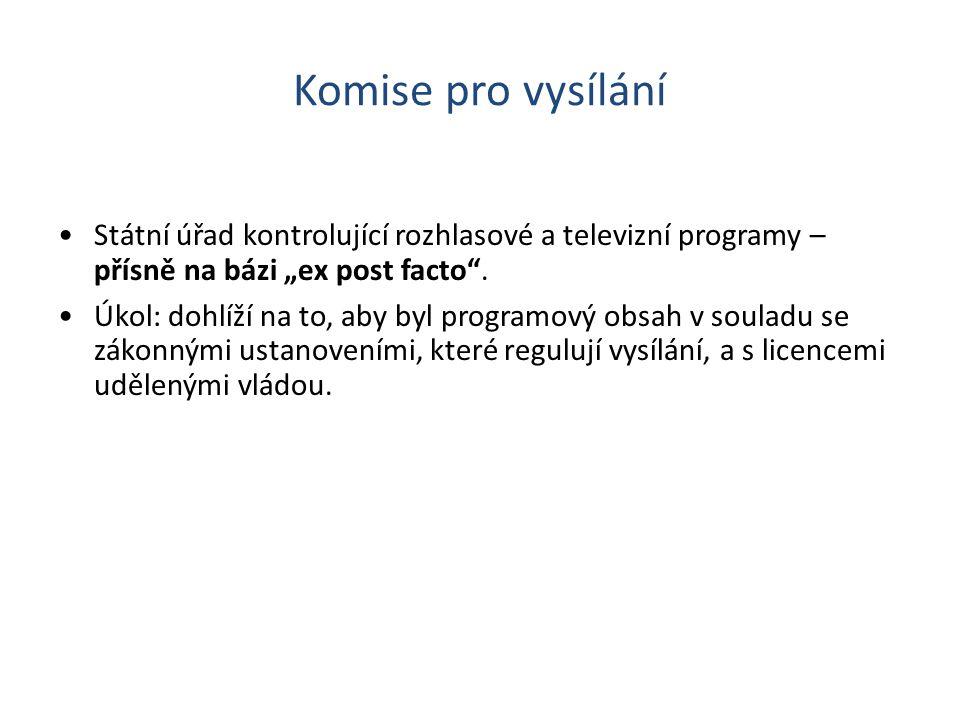 """Komise pro vysílání Státní úřad kontrolující rozhlasové a televizní programy – přísně na bázi """"ex post facto ."""