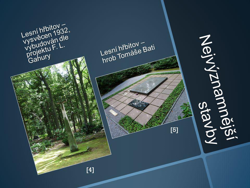 Nejvýznamnější stavby Lesní hřbitov – vysvěcen 1932, vybudován dle projektu F. L. Gahury Lesní hřbitov – hrob Tomáše Bati [4] [5]