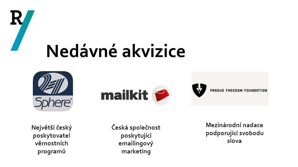 Nedávné akvizice Největší český poskytovatel věrnostních programů Česká společnost poskytující emailingový marketing Mezinárodní nadace podporující sv