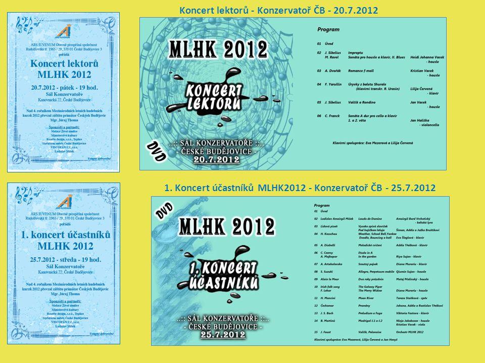 Koncert lektorů - Konzervatoř ČB - 20.7.2012 1. Koncert účastníků MLHK2012 - Konzervatoř ČB - 25.7.2012