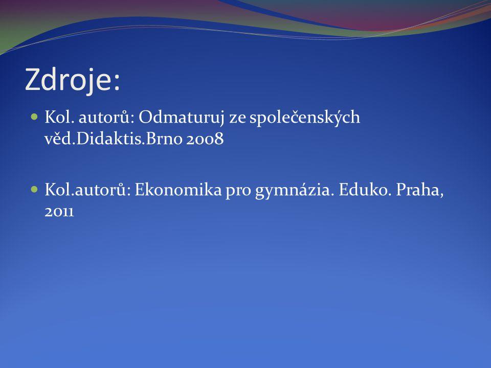 Zdroje: Kol. autorů: Odmaturuj ze společenských věd.Didaktis.Brno 2008 Kol.autorů: Ekonomika pro gymnázia. Eduko. Praha, 2011