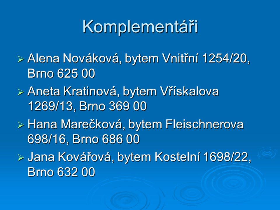 Komplementáři  Alena Nováková, bytem Vnitřní 1254/20, Brno 625 00  Aneta Kratinová, bytem Vřískalova 1269/13, Brno 369 00  Hana Marečková, bytem Fl