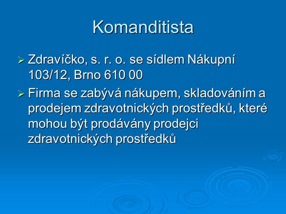 Komanditista  Zdravíčko, s. r. o. se sídlem Nákupní 103/12, Brno 610 00  Firma se zabývá nákupem, skladováním a prodejem zdravotnických prostředků,
