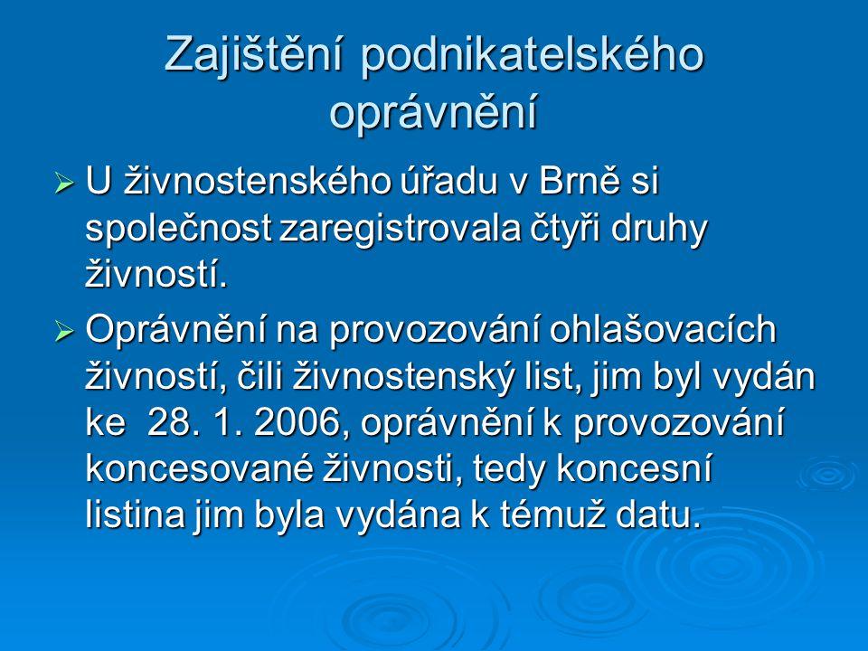 Zajištění podnikatelského oprávnění  U živnostenského úřadu v Brně si společnost zaregistrovala čtyři druhy živností.  Oprávnění na provozování ohla