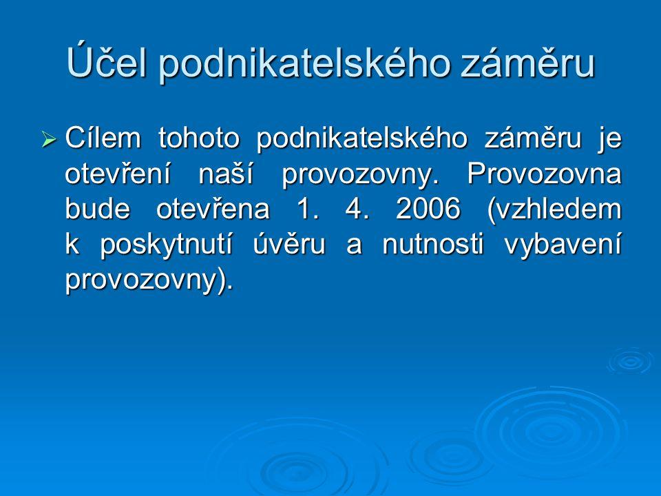 Účel podnikatelského záměru  Cílem tohoto podnikatelského záměru je otevření naší provozovny. Provozovna bude otevřena 1. 4. 2006 (vzhledem k poskytn