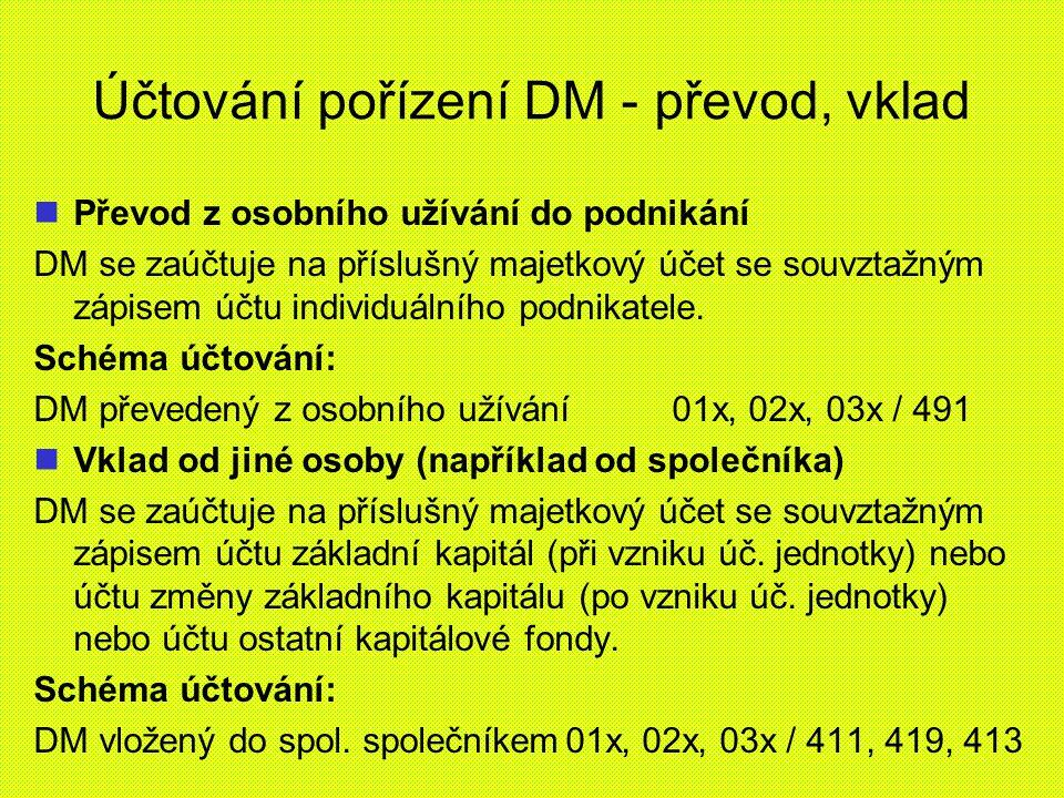 Účtování pořízení DM - převod, vklad Převod z osobního užívání do podnikání DM se zaúčtuje na příslušný majetkový účet se souvztažným zápisem účtu ind