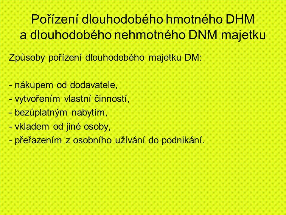 Pořízení dlouhodobého hmotného DHM a dlouhodobého nehmotného DNM majetku Způsoby pořízení dlouhodobého majetku DM: - nákupem od dodavatele, - vytvořen