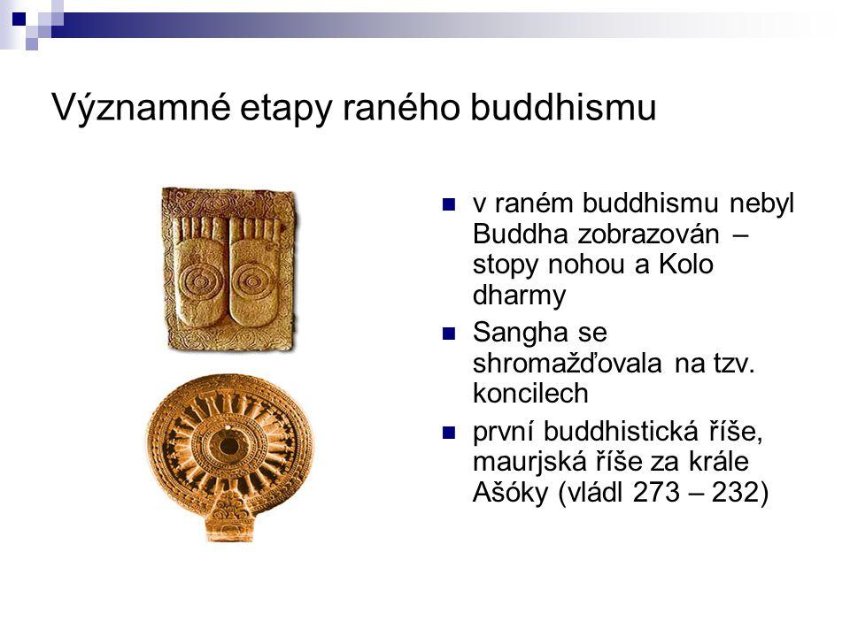 Významné etapy raného buddhismu v raném buddhismu nebyl Buddha zobrazován – stopy nohou a Kolo dharmy Sangha se shromažďovala na tzv. koncilech první