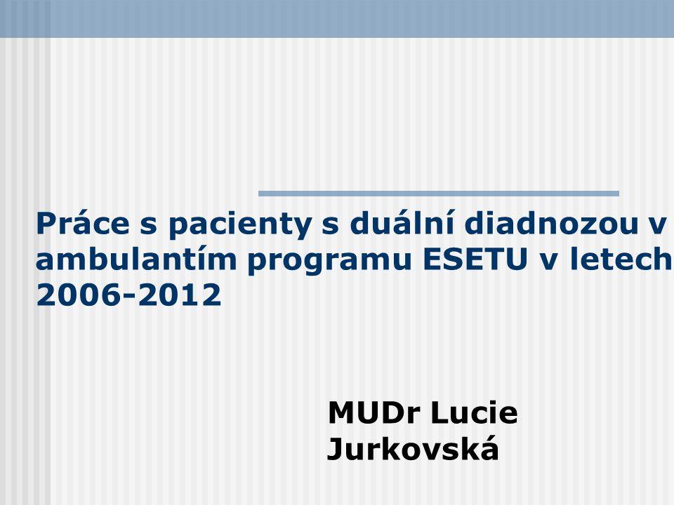 Práce s pacienty s duální diadnozou v ambulantím programu ESETU v letech 2006-2012 MUDr Lucie Jurkovská