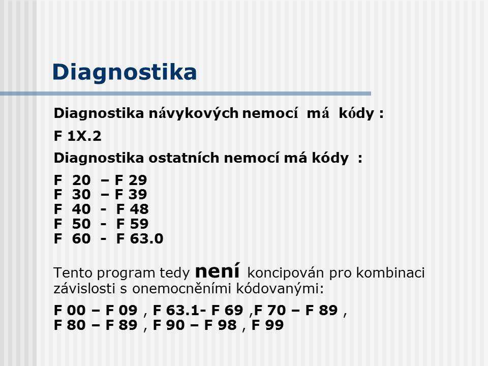 Diagnostika Diagnostika n á vykových nemoc í m á k ó dy : F 1X.2 Diagnostika ostatních nemocí má kódy : F 20 – F 29 F 30 – F 39 F 40 - F 48 F 50 - F 5