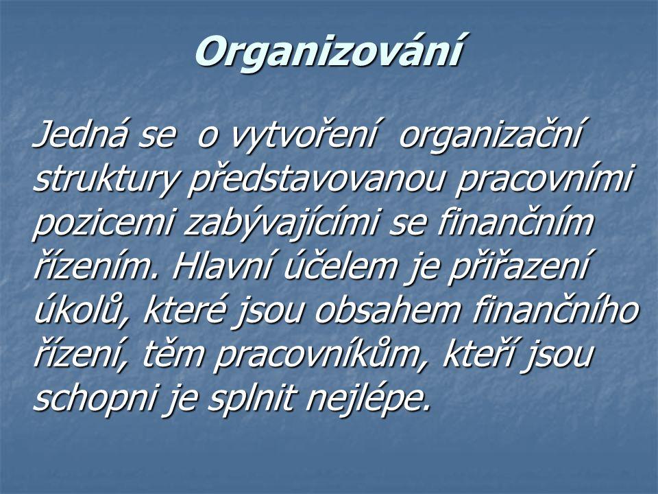 Organizování Jedná se o vytvoření organizační struktury představovanou pracovními pozicemi zabývajícími se finančním řízením. Hlavní účelem je přiřaze