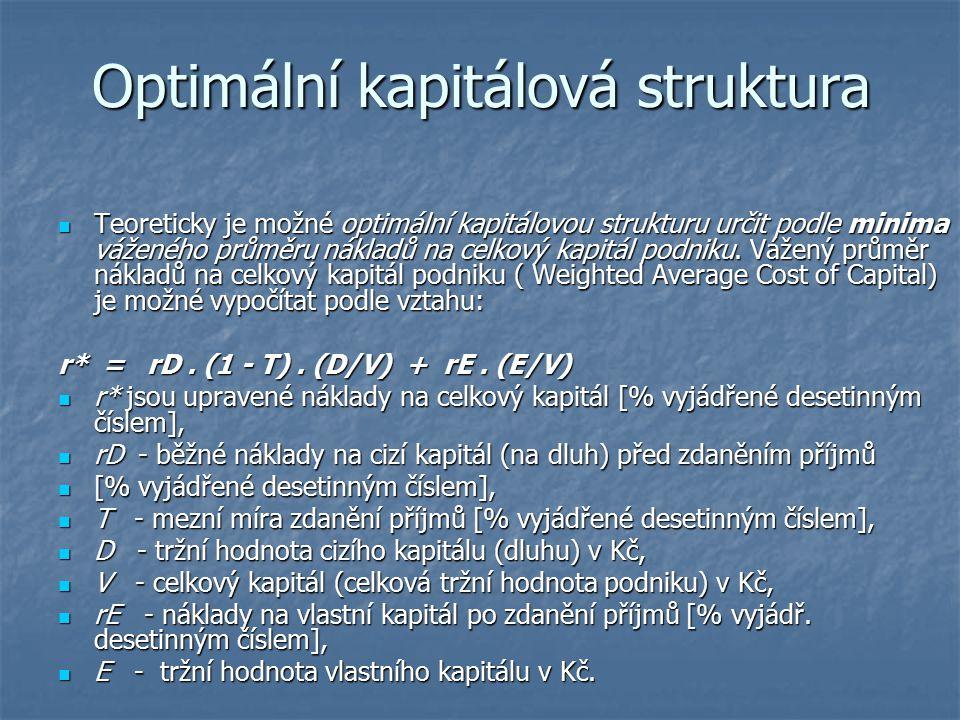 Optimální kapitálová struktura Teoreticky je možné optimální kapitálovou strukturu určit podle minima váženého průměru nákladů na celkový kapitál podn
