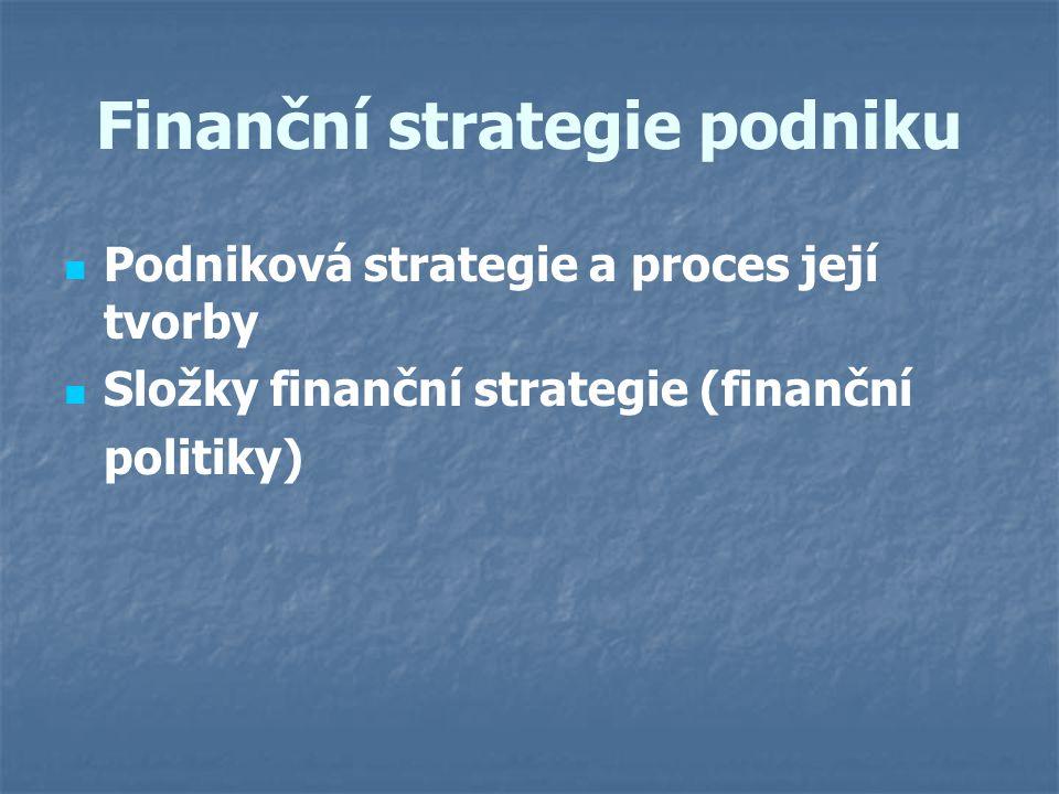 Finanční strategie podniku Podniková strategie a proces její tvorby Složky finanční strategie (finanční politiky)