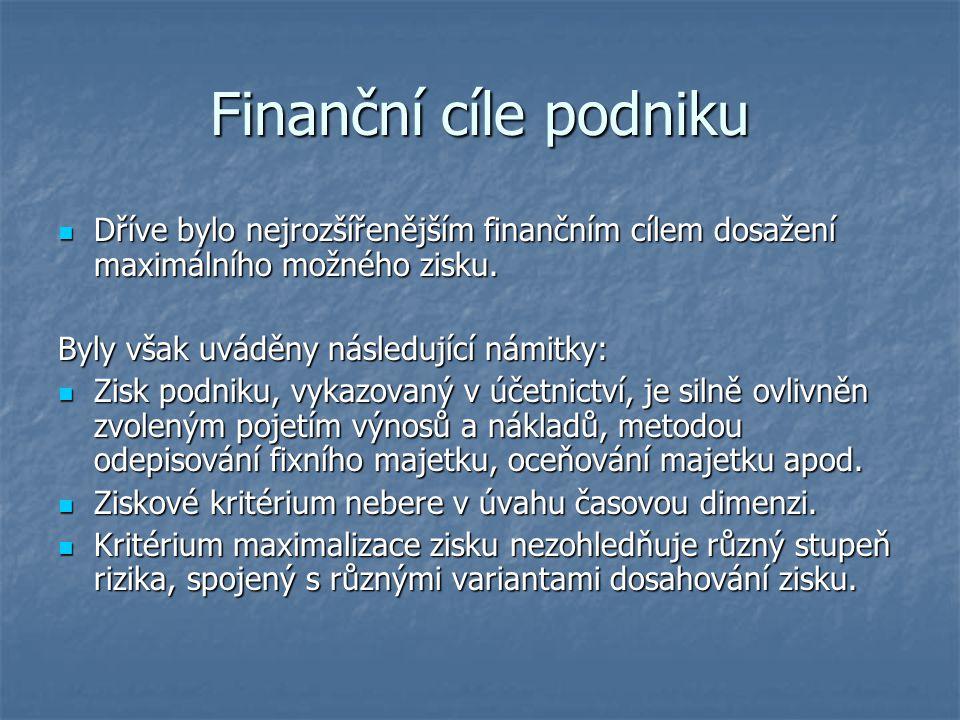 Finanční cíle podniku Dříve bylo nejrozšířenějším finančním cílem dosažení maximálního možného zisku. Dříve bylo nejrozšířenějším finančním cílem dosa