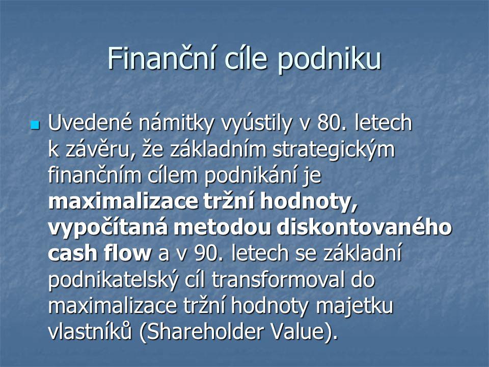 Finanční cíle podniku Uvedené námitky vyústily v 80. letech k závěru, že základním strategickým finančním cílem podnikání je maximalizace tržní hodnot
